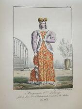 LITHO COULEUR PORTRAIT COSTUME FEMME COMTESSE ETAMPE DUC ORLEANS MOYEN AGE 1820