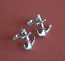 925 Sterling Silver Anchor Ear Cuff - No Piercing Earring Clip On Nautical