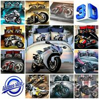 UK Standard Size 3D Photo Moto Bedding Set Duvet Cover Motorbike Sport