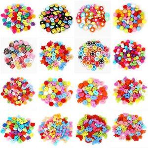 19Style 50PCS Mix Shape Lots Colors DIY Scrapbooking Cartoon Buttons Plastic