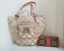 COACH POPPY BELLA Signature Tote Bucket Bag #14569 khaki/ rose  With WALLET