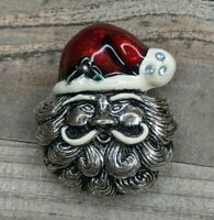 Vintage Silver Tone & Enamel Christmas Santa Claus Face Head Rhinestone Brooch