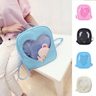 Women Girl Clear Heart Shape Leather Backpack School Shoulder Bag Travel Bookbag