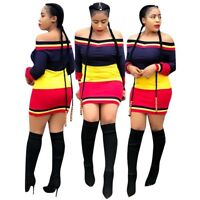 Women's  Boat Neck Colors Patchwork Bodycon Clubwear Party Cute Mini Dress Skirt