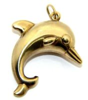 Ladies Womens 9ct 9carat Yellow Gold Dolphin Pendant UK SELLER