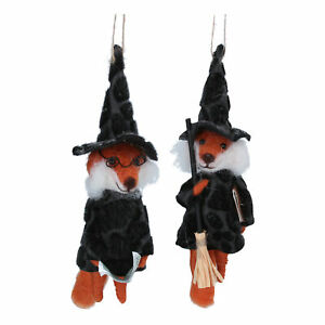 Gisela Graham Set of 2 Felt Witch Fox Halloween Decorations - Twig Tree Ornament