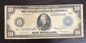 1914 $10 Atlanta Large note Fr925 Burke/Glass