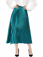 Allegra K Women's Accordion Pleated Metallic Midi Skirt Peacock Blue S