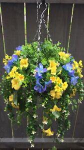 Beautiful  Yellow /blue Greenery Artificial  Trailing Hanging Basket Ready To H