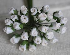 48 WHITE ROSE BUDS (S) Mulberry Paper Flowers wedding miniature
