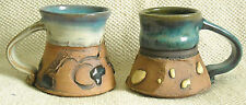 TWO (2) UNIQUE, MARKED, HANDMADE POTTERY MUGS w. HIGH GLAZE EMBELLISHMENTS