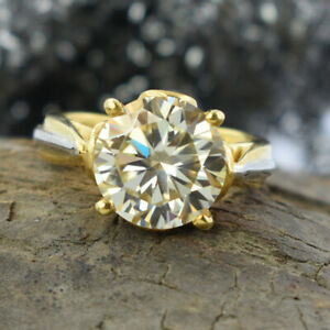 5.15 Ct Champagne Diamond Solitaire Ring in White & Yellow Finish. WATCH VIDEO
