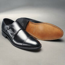 Mens Shoes Prestige Twin Monk Formal Smart Genuine Leather UK Sizes 5-14 Black