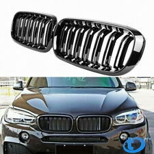 Gloss Black Dual Slats Front Kidney Grille For BMW F15 F16 X5 X6 X5M 2014-2018