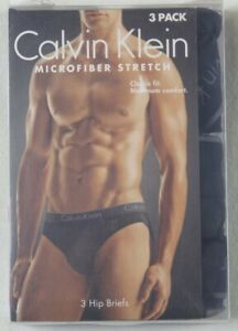 Calvin Klein 3 Pack Classic Fit Black Microfiber Stretch Hip Briefs NWT