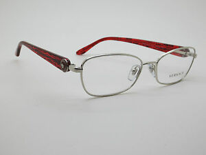 NEW Authentic VERSACE Mod. 1210 1000 Silver/Red 52mm RX Eyeglasses