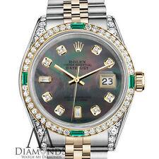 Ladies Rolex Steel & Gold 26mm Datejust Watch Black MOP 8+2 Emerald Diamond Dial
