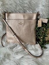 Coach Platinum Gold CrossGrain Leather North/South Swingpack Crossbody Bag 52348
