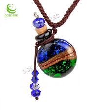 Murano Glass Gold Dust smile oil ashes urn bottle cork pendant vial Necklace new