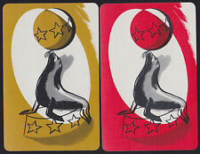 2 Single VINTAGE Swap/Playing Cards ANIMALS CIRCUS SEAL BALANCING STAR BALL