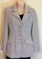 Thomo Women's Light Brown Blazer Beige Oatmeal Tweed Jacket Small