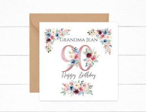 Personalised 90th Birthday Card Pink Floral Nan Auntie Mum Grandma Friend