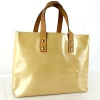 LOUIS VUITTON READE PM Hand Bag Purse Monogram Vernis Leather M91144 Beige