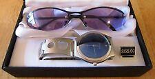 Men's GENEVA Quartz Silver Toned Blue Face Watch & Sunglass Set NIB $155