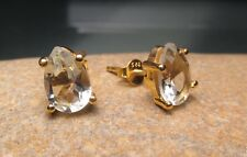 Sterling silver gold plate 9x6mm CUT GREEN AMETHYST STUD earrings.