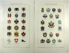 National Coats of Arms: Original 1903 Stone Chromolithograph by J Bien. Antique
