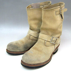 Red Wing Authentic Suede Engineer Boots Beige US 7.5D EU 40 Used from Japan