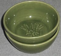 Set (2) Franciscan GREEN WHEAT PATTERN Coupe Cereal Bowls MADE IN CALIFORNIA