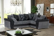 Lush Cord Chenille Corner Sofa in Black or Brown, Swivel Chair, Footstool