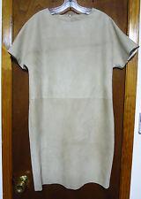 J. Mendel Paris Beige Suede Short Sleeve Shift Dress Sz S