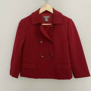 Ann Taylor Womens Suit Jacket Red Long Sleeve Double Breasted Stretch Petites 4P
