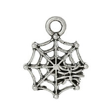 20 Pcs Charm Pendants Spider Web Antique Silver 17mm x 13mm Lc4651