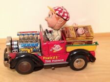 Vintage Battery Operated Tin Toy Farmer Driving Truck with Pigs On Works !