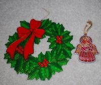 """LOT Vintage Christmas Ornaments Plastic Angel 3.5"""" & Wreath 8"""" Sun Catchers"""