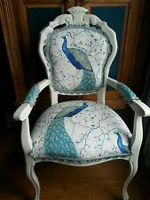 LOUIS FRENCH STYLE CARVER  CHAIR IN PEACOCK