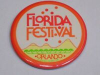 Florida Festival Orlando Pin Vintage Old Button Round Pinback 1979 Sea World Inc