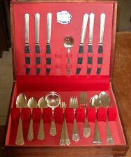 VINTAGE 1935 QUEEN ESTHER SILVER PLATED FLATWARE 49 PIECE SET WOODEN DISPLAY BOX