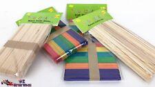 50 Pcs 180x15mm Jumbo Craft Paddle Pop Sticks Multi Colour 6 Colours Wooden Ice
