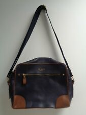 Ted Baker Mens Navy Blue With Brown Edging 100% Leather Messenger Bag