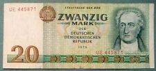 EAST GERMANY DDR GDR 20 MARK  NOTE FROM 1975,  P 29 a  GOETHE, WIDE SERIAL #