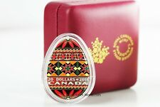 "Canada 2016 20$ Traditional Ukrainian Pysanka Egg Shape Silver Coin COA ""0001"""