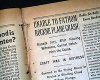 KNUTE ROCKNE Notre Dame Fighting Irish FOOTBALL Coach KILLED 1931 Old Newspaper