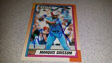 MARQUIS GRISSOM AUTOGRAPHED AUTHENTIC HAND SIGNED TOPPS MONTREAL EXPOS BALL CARD