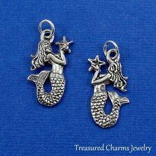 Silver MERMAID holding Starfish CHARM Ocean Nautical Beach PENDANT *NEW*