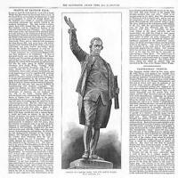 1878 - Antique Print STATUE OF CAPTAIN COOK for NEW SOUTH WALES  (053A)