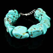 BEAUTIFUL SPARKLING 360.00 CTS NATURAL UNTREATED TURQUOISE BEADS BRACELET